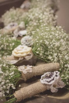 My wedding flowers! Baby's breath with burlap and flowers glued on the stem from hobby lobby!