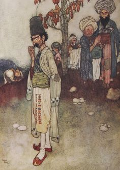 Edmund Dulac - Having transformed himself by disguise. Arabian Nights.