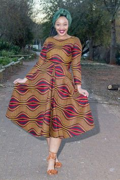 Brown African print dress by EssieAfricanPrint on Etsy