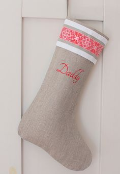 Scandinavian Christmas stocking linen by KatysHomeDesigns on Etsy