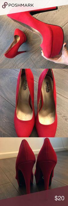 Red high heels with platform Bright red platform heels Charlotte Russe Shoes Platforms