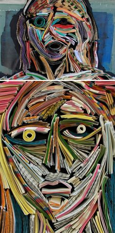 10 Amazing Book-Art Pieces ~ lots of cool art created from books
