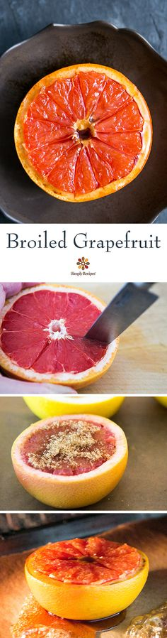 Broiled Grapefruit ~ Grapefruit halves, sprinkled with brown sugar and broiled. ~ SimplyRecipes.com