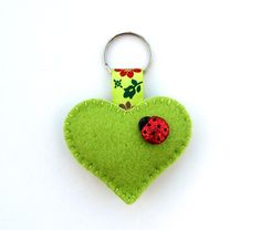 Heart Keyring (ladybird) £3.95 by hattifer's hand sewn gifts