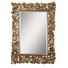 Capulin Antique Gold Metal Strip Mirror