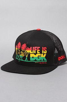 DGK The Life Is Trucker Hat in Black Rasta Party 05102ac594e9