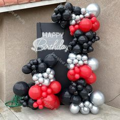 Black And Gold Balloons, White Balloons, Red Balloon, Balloon Arch, Balloon Garland, Latex Balloons, Balloon Decorations, Balloon Columns, 60th Birthday Party Decorations