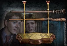 Fred and George Weasley's wands. Fred's wand is the top wand, George's is the bottom. Made by the Noble Collection.