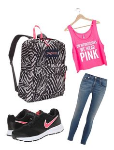 """""""back to school outfit"""" by hannah-fae ❤ liked on Polyvore featuring NIKE, rag & bone and JanSport"""