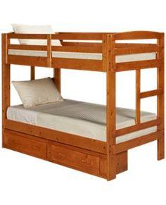 Oak Furniture West-Ponderosa-Ponderosa Twin Bunk Beds with Underbed Storage Drawers - Jordan's Furniture