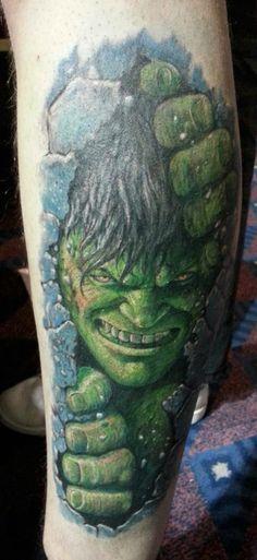 Keeping with the comic theme, here's The Hulk by Eugene @ Ian Ink Tattoo www.ianinktattoo.tumblr.com - please follow :)
