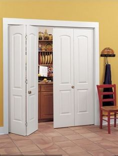 pantry accessories peerless replace folding pantry doors with polished brass door knobs handles and arch panel interior doors also wooden kitchen chairs ikea ~ kitchen pantry ideas Custom Bifold Closet Doors, Mirror Closet Doors, Wardrobe Doors, Door Design Interior, Interior Doors, Modern Interior, Pantry Shelving, Pantry Doors, Accordion Doors