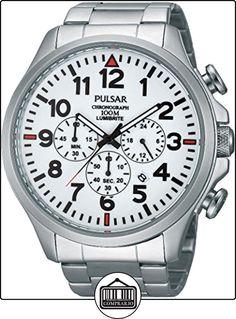 Pulsar PT3321X1 - Reloj con correa de acero para hombre, color blanco / gris de  ✿ Relojes para hombre - (Gama media/alta) ✿