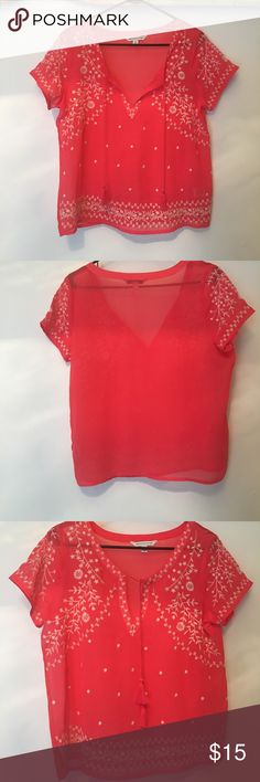 American eagle blouse So pretty and elegant , so bummed it's too big for me  never worn it's a coral color with cream embroidery American Eagle Outfitters Tops Blouses
