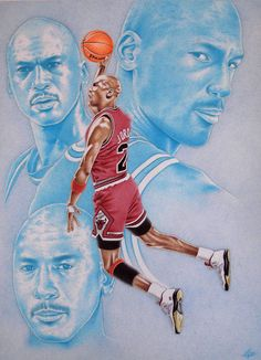 Air Jordan by MLBOA on deviantART ~ Michael Jordan ~ traditional art using colored ball point pens & pencils