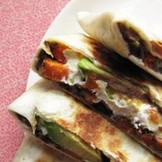 Use vegan cheese if you must, but even with no cheese at all, these Sweet Potato and Black Bean Quesadillas are completely satisfying. (Ensure your tortillas are made without lard!) From Take a Megabite, found @Edamam.
