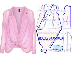 a a leitura da transforma?o do molde de blusa trespasse rosa com rigor antes de iniciar qualquer outro processo. Imprima o molde base de blusa e fa? Dress Sewing Patterns, Blouse Patterns, Clothing Patterns, Blouse Designs, Sewing Ideas, Fashion Sewing, Diy Fashion, Ideias Fashion, Fashion Outfits