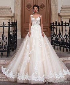 2016 Millanova Plus Size Maternity Wedding Dresses Discount A Line Vintage Lace Bohemian Wedding Bridal Gowns White Ivory See Through Back
