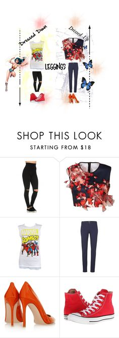 """Style 22"" by southernbelle93 ❤ liked on Polyvore featuring Clover Canyon, Marvel Comics, Tommy Hilfiger, Gianvito Rossi, Converse, Liljebergs, Leggings and WardrobeStaples"