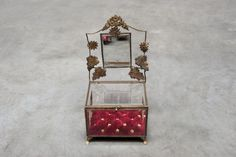 French glass wedding casket red velvet