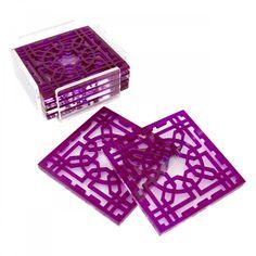 Yasmina: purple Arabesque coasters with base