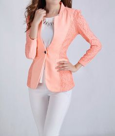 Solid Color Sleeves Skinny Ladylike Style Polyester Blazer For Women Asian Fashion, Teen Fashion, Love Fashion, Fashion Looks, Fashion Outfits, Estilo Glamour, Cream Outfits, Stylish Work Outfits, Ladylike Style