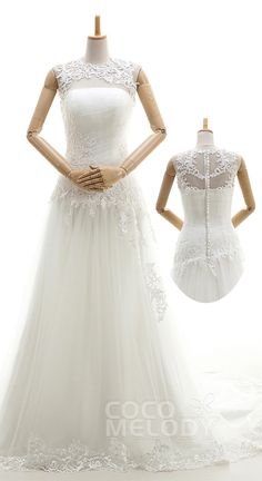 Impressive A-Line Illusion Natural Court Train Tulle Ivory Sleeveless Zipper With Buttons Wedding Dress Appliques Pleating B14P2A042 #weddingdresses #cocomelody