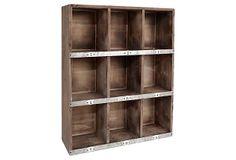 "Nine-Slot Wooden Wall Shelf 19""W x 7""D x 23""H ($180.00)  $99.00 OneKingsLane.com"