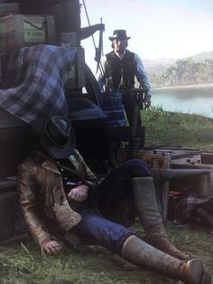 Arthur Morgan sleeping while Dutch watches like a creep. Video Game Art, Video Games, Red Dead Redemption 1, John Marston, Read Dead, Rdr 2, Hard Men, Old West, Skyrim