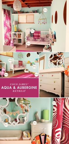 I like the circles on the wall, that it appears a little bird are in.     plum and aqua nursery inspiration