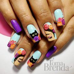 Frida Pretty Nail Designs, Nail Art Designs, Love Nails, My Nails, Mexican Nails, Party Nails, Gelish Nails, Perfect Nails, Swag Nails