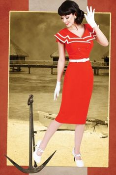 Bettie Page Clothing - 50s Captain Red pencil dress