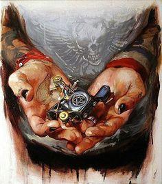 Tattoo Machine oil painting