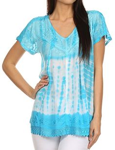 Sakkas 776  Violet Embroidery Tie Dye Sequin Accents Blouse  Top  Sky Blue  OSP * Want to know more, click on the image.Note:It is affiliate link to Amazon.