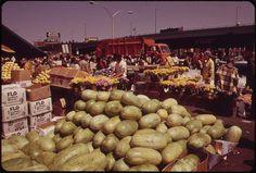 Fruits and Flowers at the Outdoor Market in Haymarket Square 1973 - Photographer: Halberstadt, Ernst, 1910-1987