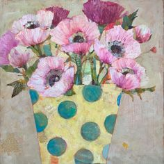 Still Life Art, Beautiful Textures, Large Painting, Paper Cutting, Sally, Original Paintings, Planter, Collage, Anemones
