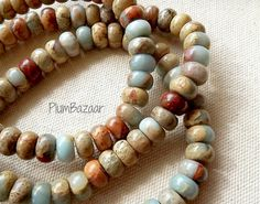 African opal impression jasper beads rondelle by PlumBazaar - such soft, lovely colors~ Stone Beads, Jasper, Opal, Beaded Bracelets, African, Colors, Etsy, Beautiful, Jewelry