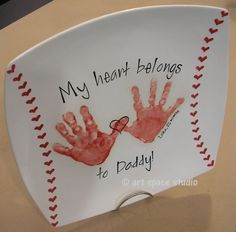 """My Heart Belongs to Dad"" Baseball Plate ~ cute Father's day gift... would also be cute as ""My heart belongs to Grandpa"""