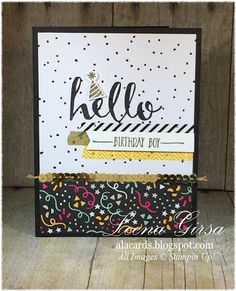 A La Cards: Hello Monday - SU - SAB - Masculine birthday card featuring the Hello Sale-a-bration stamp set