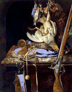 Nature morte avec un équipement de chasse dans une niche (1664, Nationalmuseum, Stockholm) de Willem van Aelst (1626-1683)