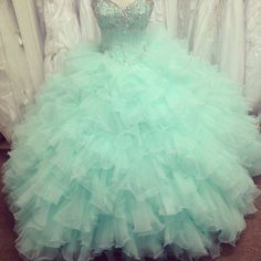 Pretty Mint Ball Gown Tulle Beaded Quinceanera Dresses, Quinceanera Dress, Prom Gowns, Formal Gowns