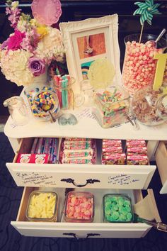 If you don't have room for a buffet table.......how gorgeous is this neat set of drawers? Neatly stack in your lollies... and you could line the drawers in coordinating paper.