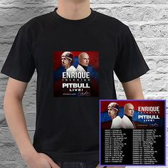 Enrique Iglesias & Pitbull Live! tour concert 2017 black tees; Tshirt 100% Cotton; Available Men's size S-3XL;