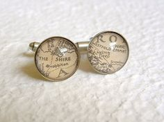 Middle Earth Map Cufflinks (and you can choose which Middle Earth landmarks you want!)