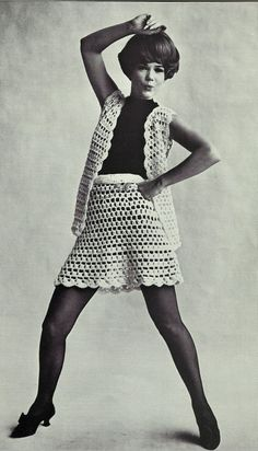 1960s mod vintage CROCHET pattern skirt and by SleepingDoePatterns