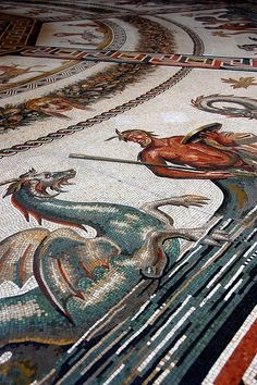 Musei Vaticani - Detail of the mosaic floor in the Round Room, Pio-Clementino Museum.