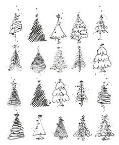 Christmas is coming and you may want to write your bullet journal or handmade Christmas card, then you must need these Christmas doodles! These Christmas doodles are cute and teach you step by step how to draw them perfectly, so you can learn easily. Christmas Tree Drawing, Christmas Tree Set, Diy Christmas Cards, Xmas Cards, Simple Christmas, Handmade Christmas, Holiday Crafts, Holiday Fun, Christmas Card Designs