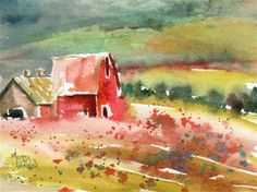 """Daily+Paintworks+-+""""Country+Barn""""+-+Original+Fine+Art+for+Sale+-+©+Melissa+Gannon"""
