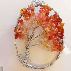 Autumn Leaves Wire Art Tree of Life Suncatcher // Window Decor // Dyed Cherry Quartz Beads