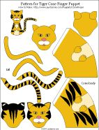 Printable pattern for tiger paper cone finger puppet - colored